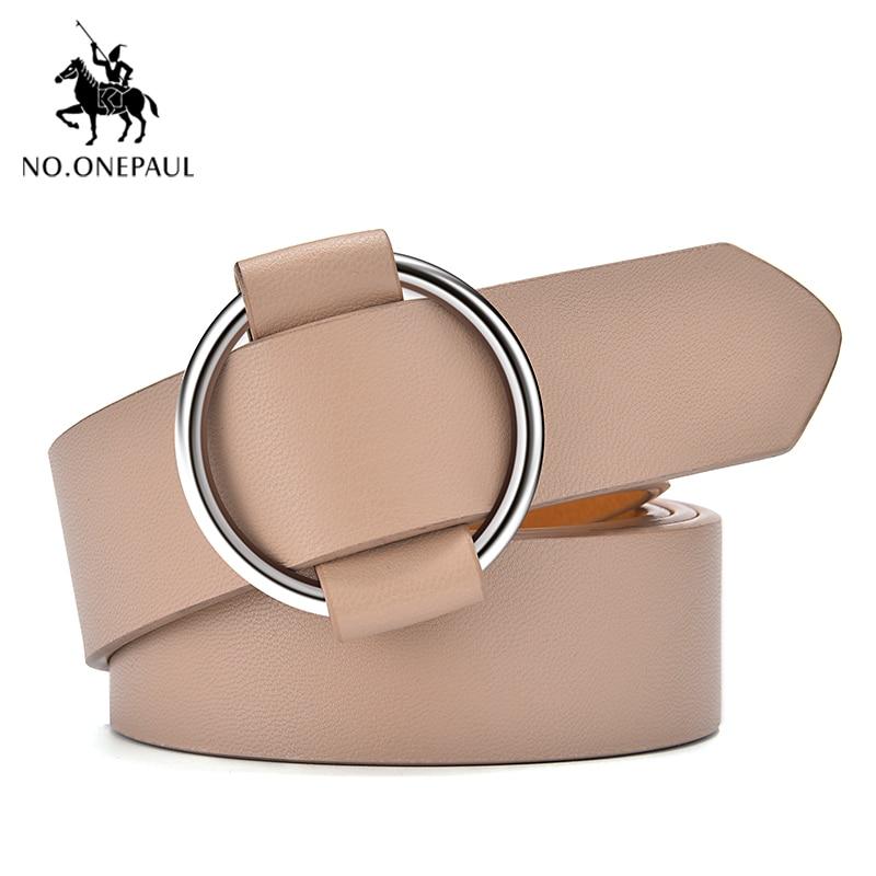 NO.ONEPAUL Women Leather Belt Round Metal Pin Buckle Circle Punk Fashion The Belt For Women Waist Belts Female Jeans Decoration