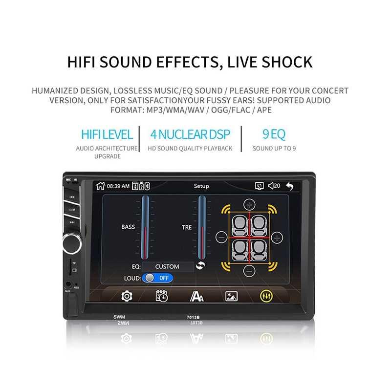 Receptores Estéreo de coche/Radio 2 Din, pantalla de contacto de 7 pulgadas Mp5/Mp4/Mp3 reproductor, de Audio Bluetooth Fm Radio Usb/Sd/Aux entrada enlace espejo