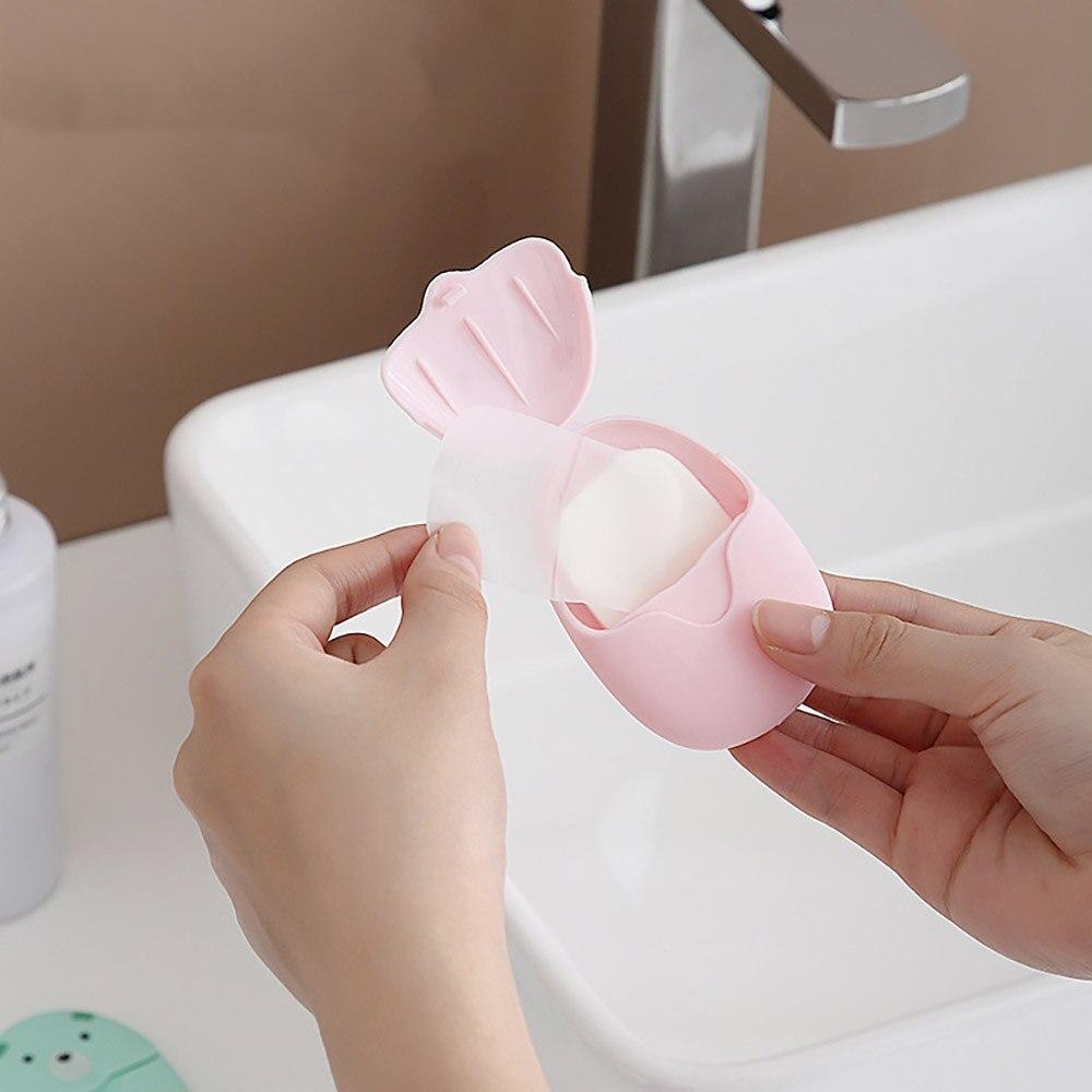 50 pçs/lote lavagem portátil toalhetes de mão banho viagem scented folhas fatia espuma caixa sabão papel atacado transporte da gota colorido