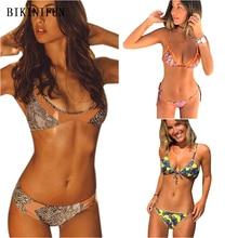 New Sexy Snakeskin Bikini Women Floral Print Swimsuit Strappy Bandage Swimwear S-L Girl Backless Haler Thong Micro Set