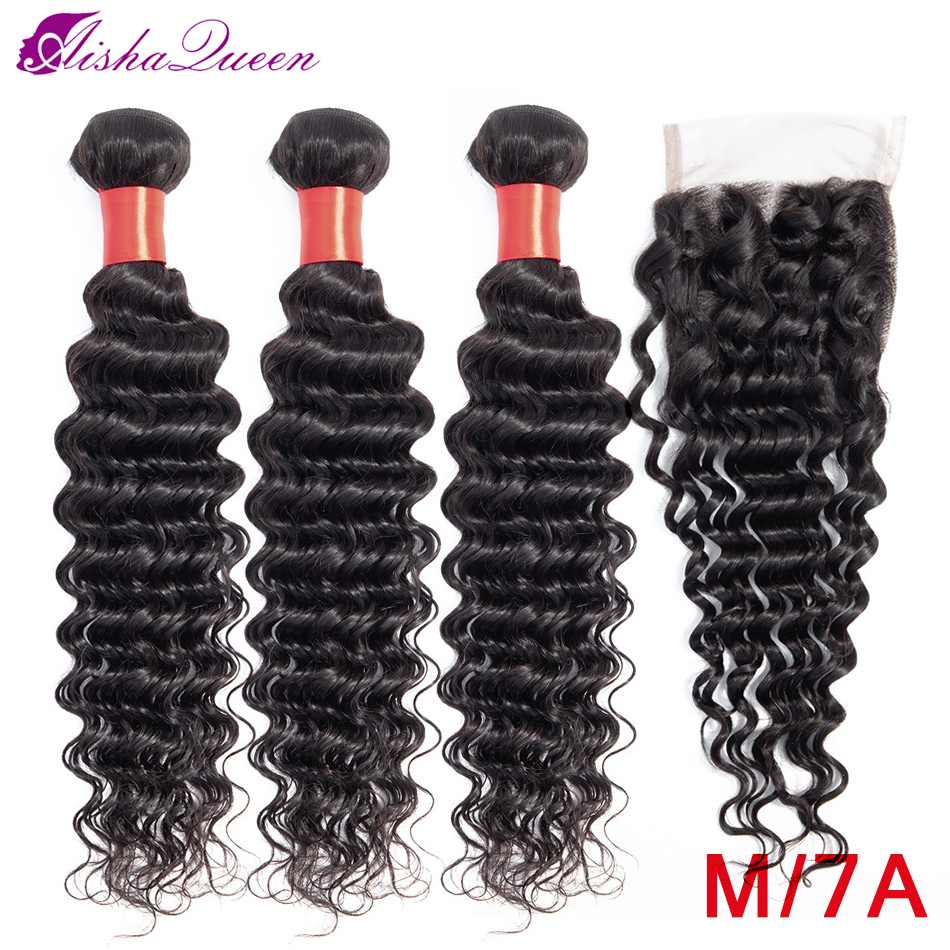 Aisha rainha pacotes de onda profunda com fechamento médio relação tecer cabelo brasileiro pacotes não remy feixes cabelo humano com fechamento