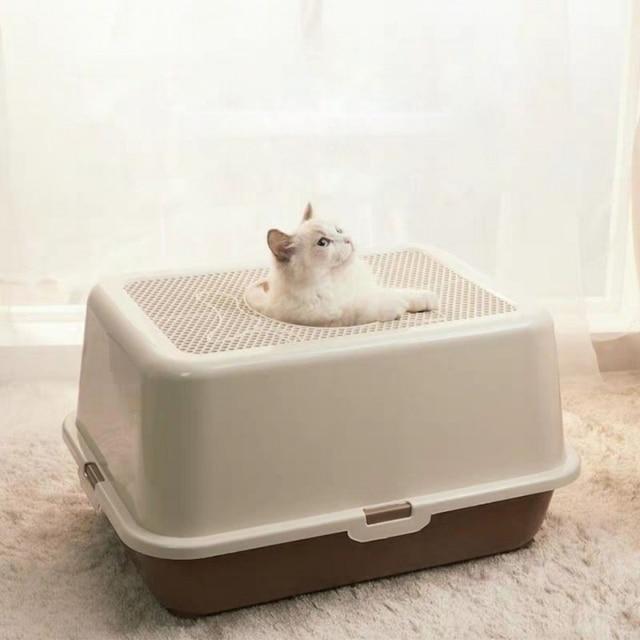 Fully Enclosed Cat Toilet Pet  Bedpan Anti Splash  Large Cat Litter Box Top Into Sand Box Deodorization Tray with Scoop Kitten