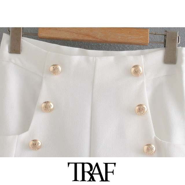 TRAF Women Chic Fashion With Buttons Pockets Bermuda Shorts Vintage High Waist Side Zipper Female Short Ropa Mujer 4