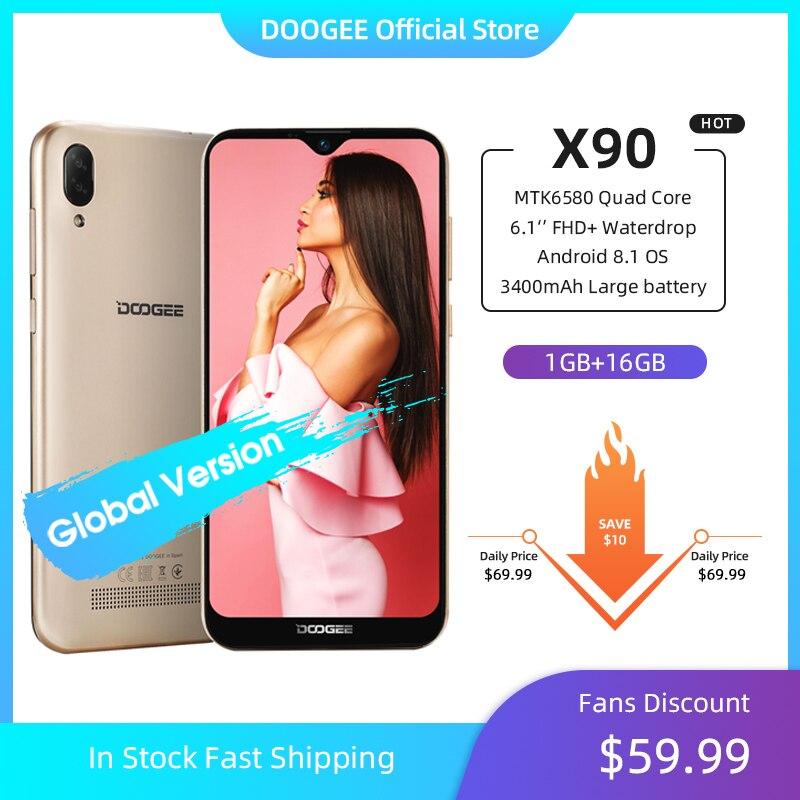Doogee-teléfono inteligente X90, teléfono móvil con pantalla anti-gotas 19:9 de 6,1 pulgadas, procesador LTPS, Quad Core, 16GB ROM, batería 3400mAh, dual-sim, cámara 8.0mp + 5.0mp, WCDMA Android Go