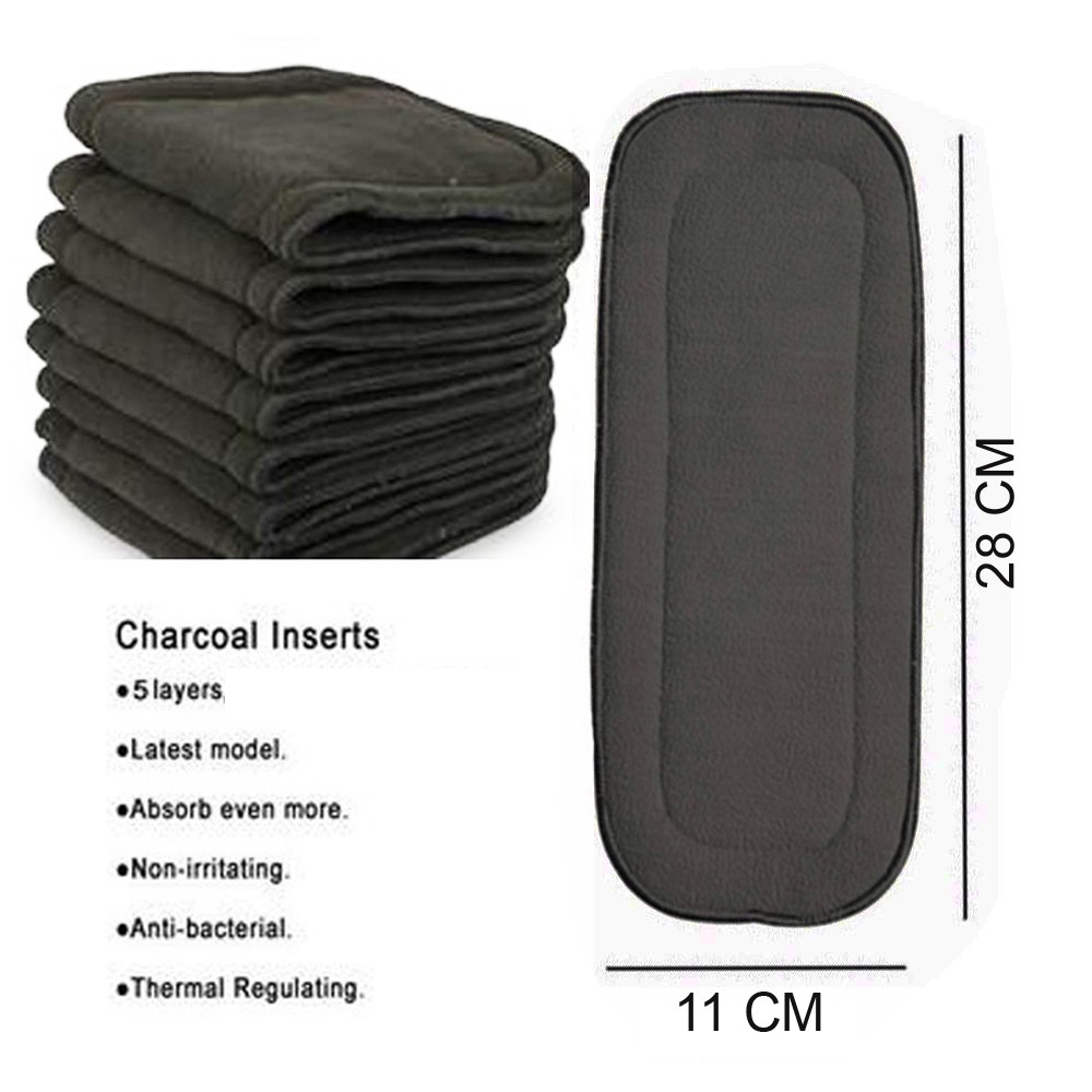 10pcs Newborn Bamboo Charcoal Absorbents Inserts 11x28CM  Reusable Liners For Pocket Cloth Diapers 5-layers Black Charcoal Liner