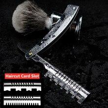 All-steel Classic Folding Manual Razor Hair Salon Eyebrow Trimming Beard Knife Shaving Stainless Steel Hair Salon Holder G0612