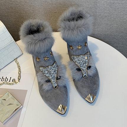 Shoes female winter plus velvet fox scalp shoes women's platform high heel pointed boots short boots rabbit fur snow boots 32