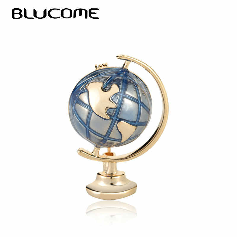 Blucome Enamel Globe Brooch Set For Women Men Kids Stacked World Map Clothes Collar Clip Travel Brooch Pin Jewelry Souvenir Gift