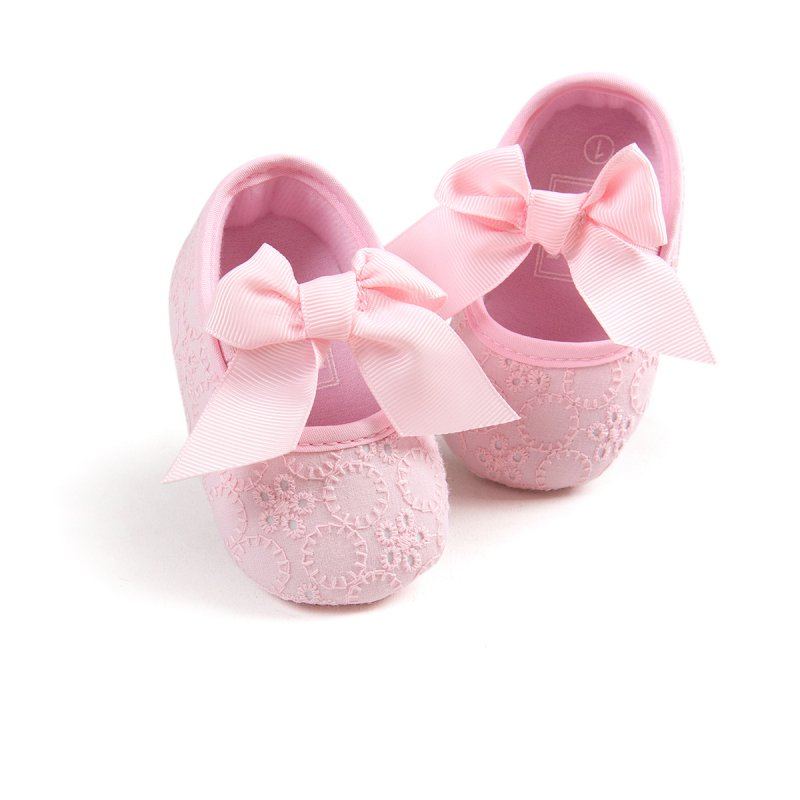 Bowknot Cotton Newborn Baby Girl Shoes Non-Slip Princess Shoes Cotton Infant Slip On Prewalkers Pink/White/Red First Walkers