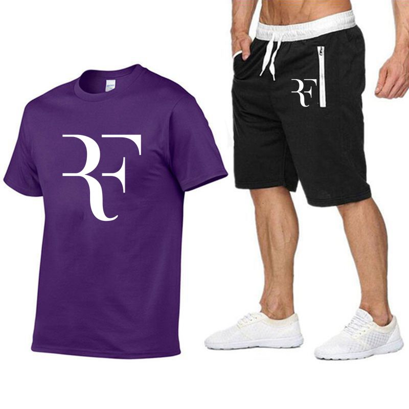 Image 4 - Roger Federer RF Tracksuit Summer Shirt +Shorts Outwear Sporting Men Sets T Shirts clothing Two piece suit Casual Tshirt-in Men's Sets from Men's Clothing