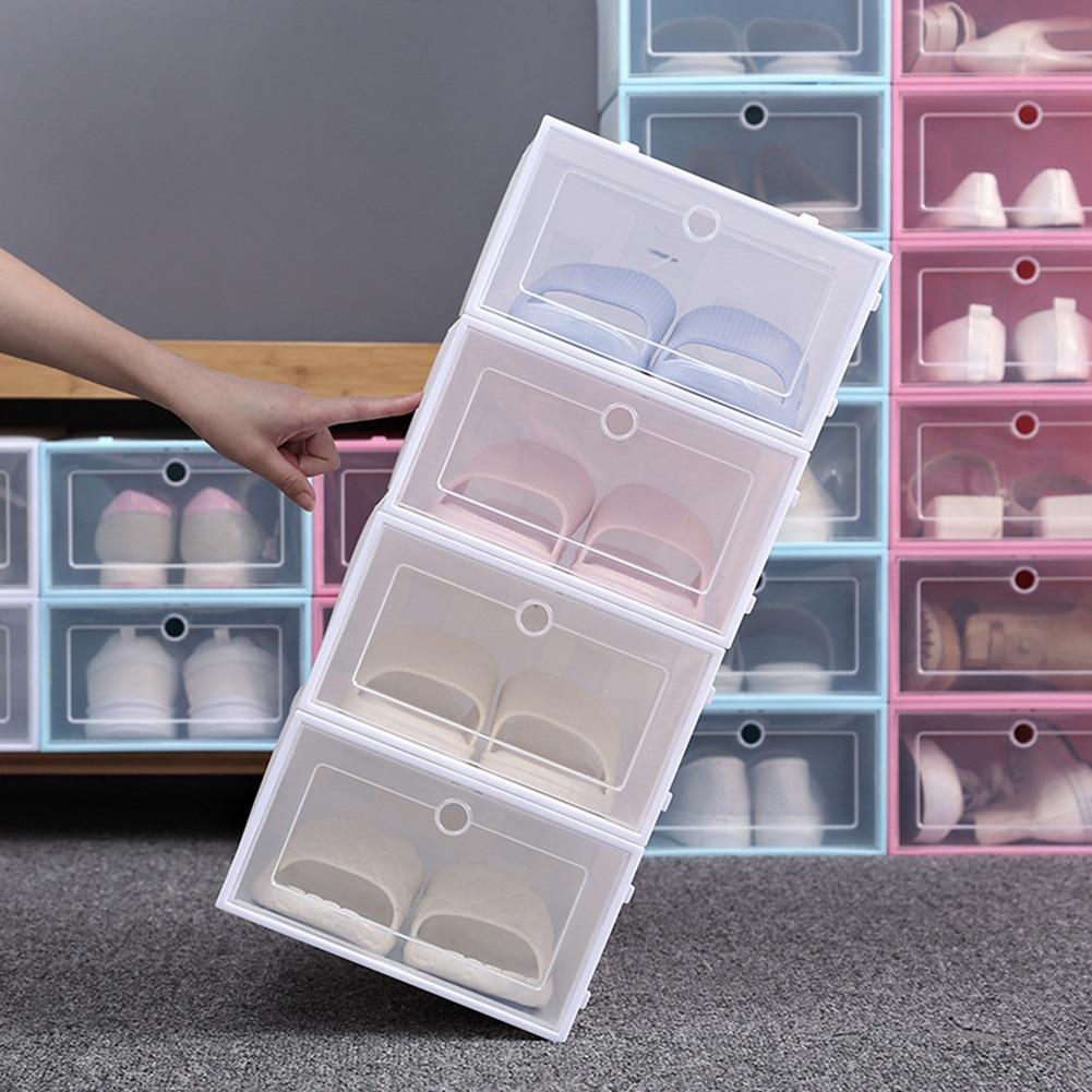 Flip-Open Cover Transparent Stackable Storage Box Shoes Drawer Case Organizer