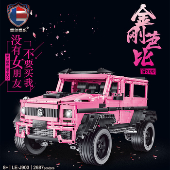 MOC Technic Series RC Car Pink Jeeps SUV G500 AWD Off-road Vehicle Model Kit Building Blocks Bricks Educational KIDS TOYS Gifts moc technic series fd35 rx7 remote control vehicle rc car redsuns model kit building blocks bricks c61023 for kids toys gifts