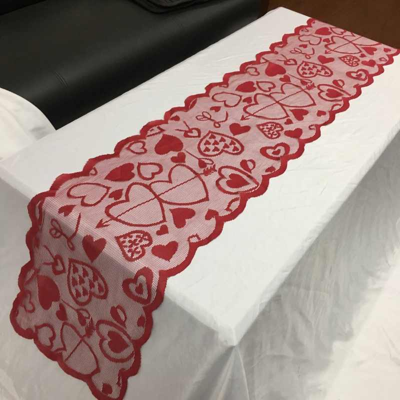 크리스마스 발렌타인 데이 웨딩 장식 테이블 러너 천으로 레이스 자수 기념일 로맨틱 식탁보 파티 용품