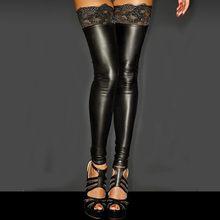 Medias De charol para Mujer, ropa interior exótica, empalme De encaje negro, Medias calcetín largas por encima De la rodilla hasta el muslo