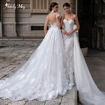 Adoly Mey Gorgeous Appliques Detachable Train Mermaid Wedding Dress 2020 Luxury Sashes Beaded Sweetheart Neck Trumpet Bride Gown