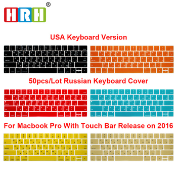 HRH Wholesale 50pcs USA Russian Silicone Keyboard Cover  For Mac Pro 13A1706 Pro 15 A1707 Touch Bar Release2016/2017/2018/2019 hrh rainbow eu spanish silicone keyboard protective film for mac pro 13 15 a1706 a1707 a1989 a1990 a2159 with touch bar