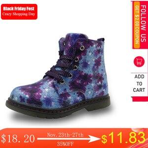 Image 1 - Apakowa printemps automne mode 3D fleur enfants filles bottines en cuir PU enfants chaussures pour enfant en bas âge filles Martin bottes EU 21 31