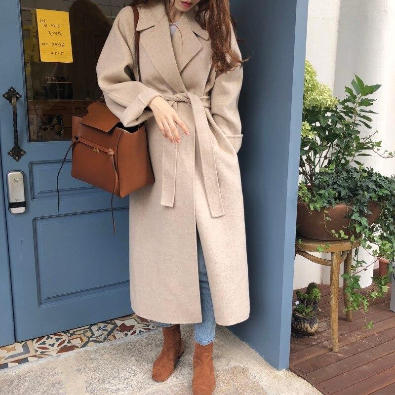 19 Winter Oversize Long Trench Coat Women Cashmere Coat Korean Lady Windbreaker Outwear Streetwear 66