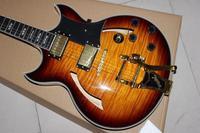 Electric Guitar.high quality semi hollow body jazz Electric Guitar .Sunburst color tiger flame top guitarra.6 stings gitaar.