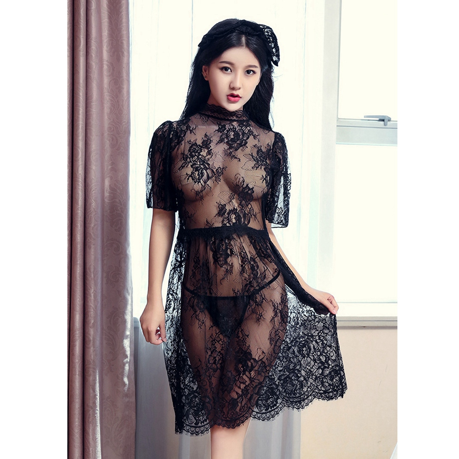 Lace Ropa Sexy Para El Sexo Lingere Night Dress  Womens Nightgown Sleepwear See Though Womens Clothing