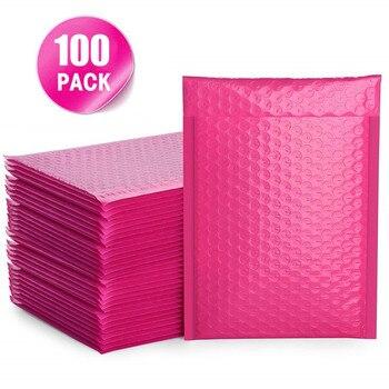 100 pièces bulle Mailers rose Poly bulle Mailer auto joint enveloppes rembourrées sacs-cadeaux pour livre Magazine doublé Mailer auto joint rose