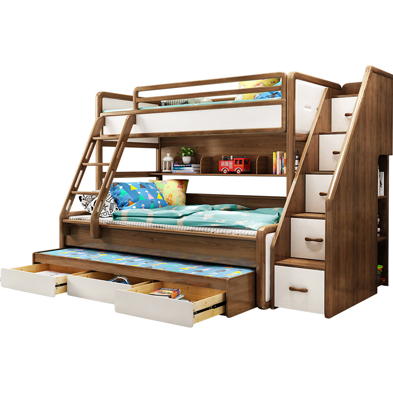 Hot Sale High Quality Wooden Children Bunk Bed With Storage Stair