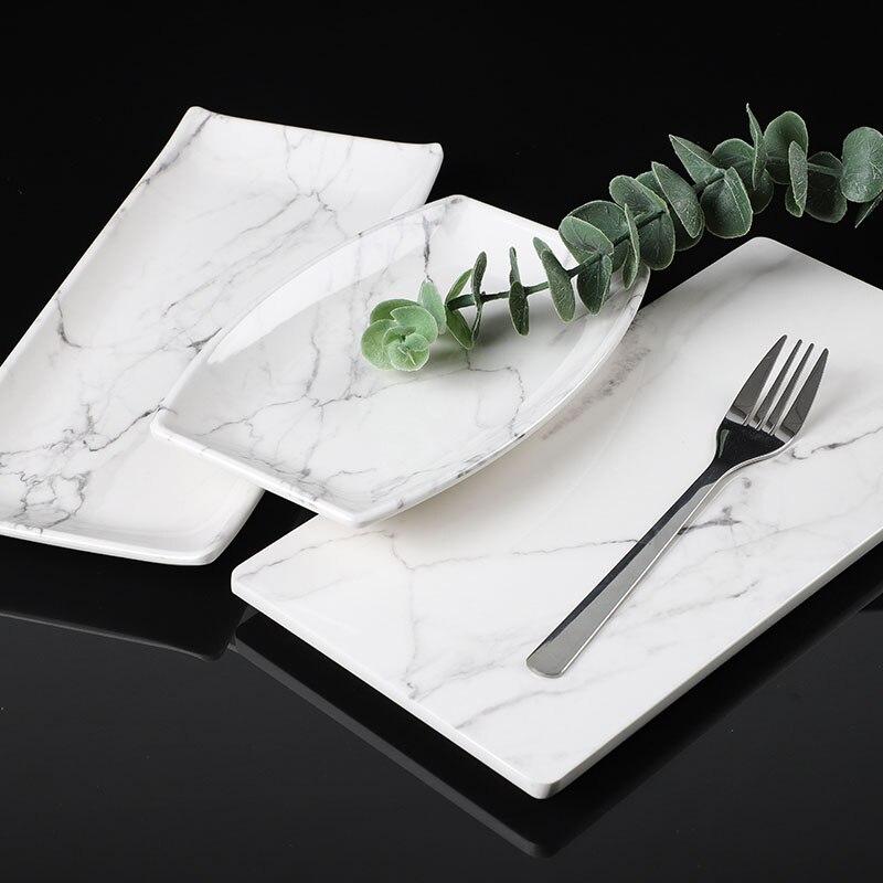 Мраморный Меламиновый поднос JINSERTA, поднос для десертов, фруктов, тортов, закусок, тарелка, посуда для отеля, ресторана, кафе, чая, кофе, сервировочный поднос-1