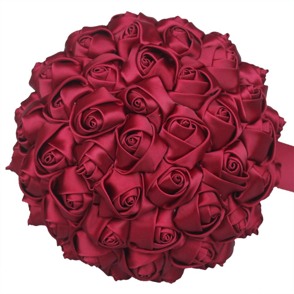 Image 4 - Cheapest Wedding Flowers Red Silk Rose Bridal Bouquets Bride Bridesmaid Wedding Bouquet Satin Holding Flower for Wedding W223Wedding Bouquets   -