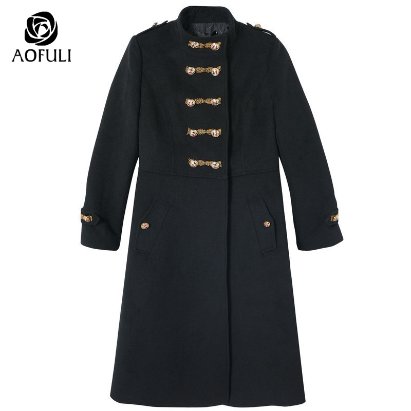 Black England Buttons Winter Long Coat 2