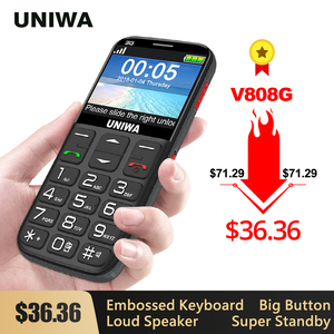 Image 1 - UNIWA V808G Strong Torch Push Button Loud Cellphone Big SOS 3G English Russian Keyboard 10 Days Standby 3G WCDMA Senior Mobile