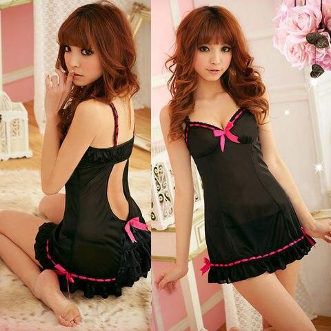 Porno Sexy Women Lingerie Sleepwear Lace Transparent Dress V-neck Hot Erotic Babydoll Lingerie Night Wear Pakistan