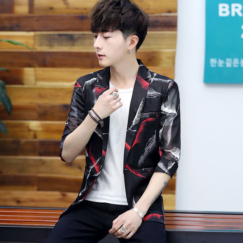 2020 Summer New Men's Casual Suit Teenagers Personality Hollow Half Sleeve Printing Perspective Suit Suit