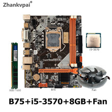 B75 LGA 1155 Motherboard set mit Intel Core i5-3570 CPU 1Pcs * 8GB 1600MHz DDR3 + FAN desktop Speicher SATA III USB 3,0 VGA HDMI