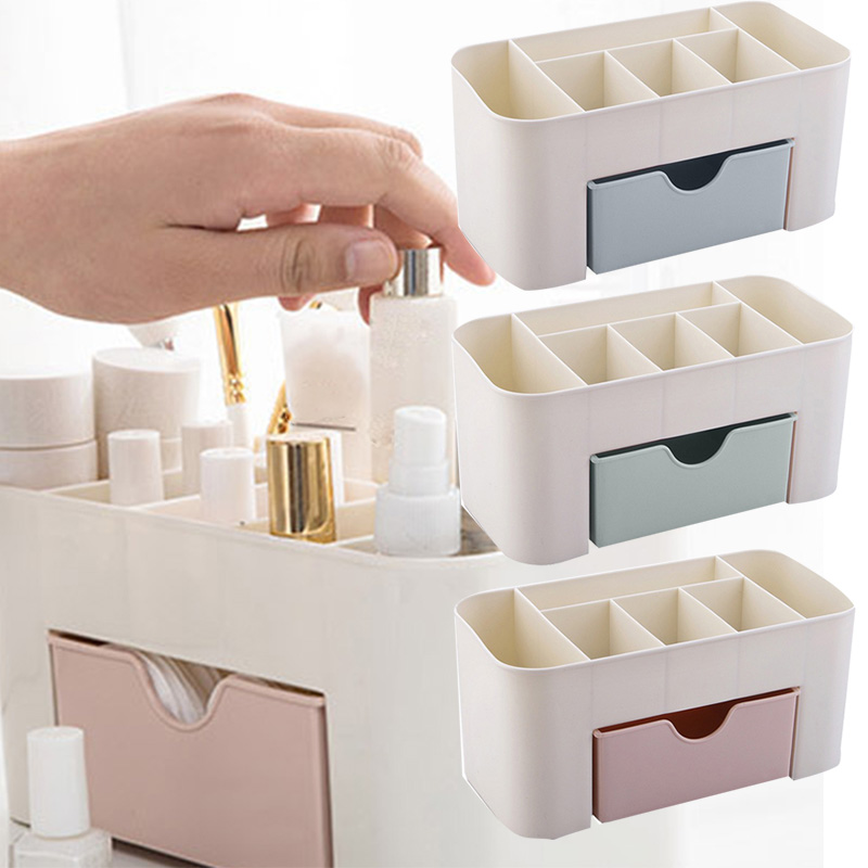 Beauty Organizer Vanity Drawer 6 Compartments With 1 Drawer Cosmetic Storage Box For Home Office Vanities Bathroom Counter-top