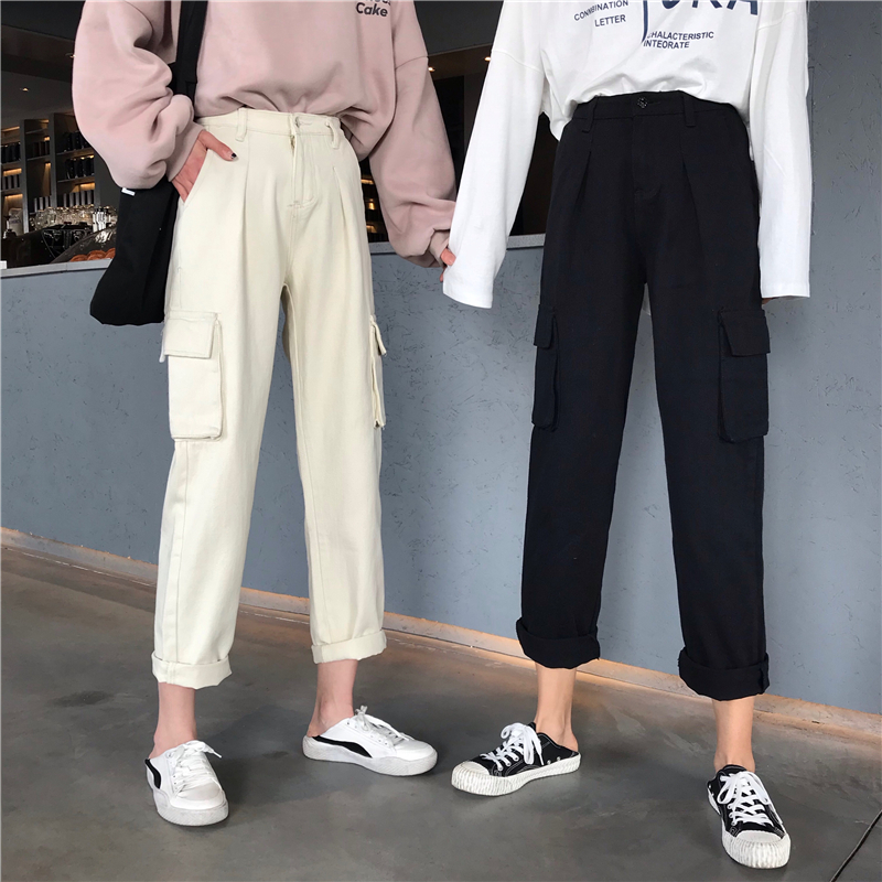 Autumn Jeans For Women Stretch Boyfriend Cotton Beige Elastic Waist Harem Mom Jeans Pants Oversize