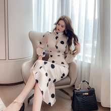 Suit Two-Piece-Sets Mermaid-Skirt Long-Sleeve Vintage Autumn Women Top Dot And Vestidos