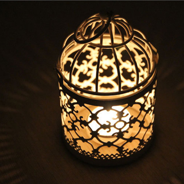 Metal Classic Candlestick Moroccan Style Lantern Candle Stand Light Holder Hanging Bird Cage Candles Holder Retro Home Decor#y30