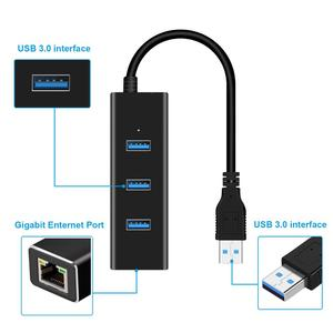 Image 2 - USB Ethernet Adapter 3 Ports USB 3.0 Hub USB to Rj45 Lan Network Card for Macbook pro Mac Desktop + Micro USB Charger Cable