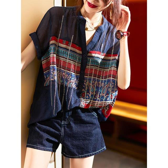 Plus Size Women Spring Summer Chiffon Blouses Shirts Lady Casual Short Sleeve Turn-down Collar Chiffon Blusas Tops DD8913 6