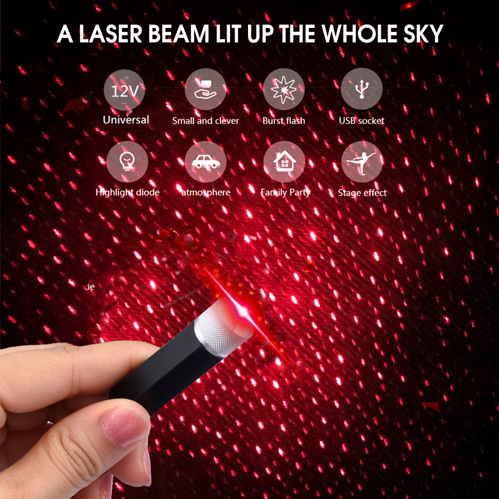 LED Car Atmospheres Starry Lamp Interior Ambient Star Light USB Star Ceiling Romanti Decorative Night Lights Projector Light for Car//Home//Party Auto LED Roof Light