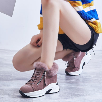 2019 new short tube snow boots women's boots increased thick platform boots winter plus velvet thick warm cotton shoes 20