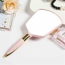 1 piezas lindo color a 4 plástico Vintage mano celebró Espejos de maquillaje espejo de vanidad rectángulo espejo cosmético con mango para regalos