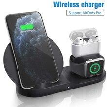 Chargeur sans fil Qi 10W 3 en 1 support de charge sans fil Station daccueil pour Airpods Pro Iphone 11 Pro Max XR 8 X Apple Watch 5 4 3 2