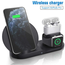 Draadloze Oplader Qi 10W 3 In 1 Wireless Charging Stand Dock Station Voor Airpods Pro Iphone 11 Pro Max xr 8 X Apple Horloge 5 4 3 2
