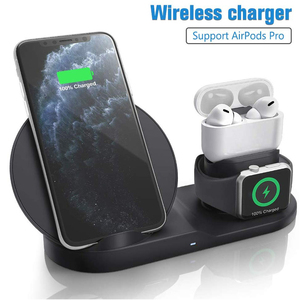 Image 1 - Draadloze Oplader Qi 10W 3 In 1 Wireless Charging Stand Dock Station Voor Airpods Pro Iphone 11 Pro Max xr 8 X Apple Horloge 5 4 3 2