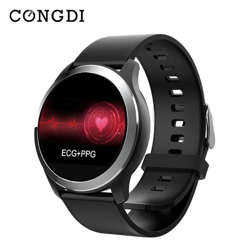 Congdi Z03 PPG Relógios Inteligentes Homens de ECG Monitor de Pressão Arterial e Freqüência Cardíaca смарт часы Passometer Idosos IOS Smartwatch Android