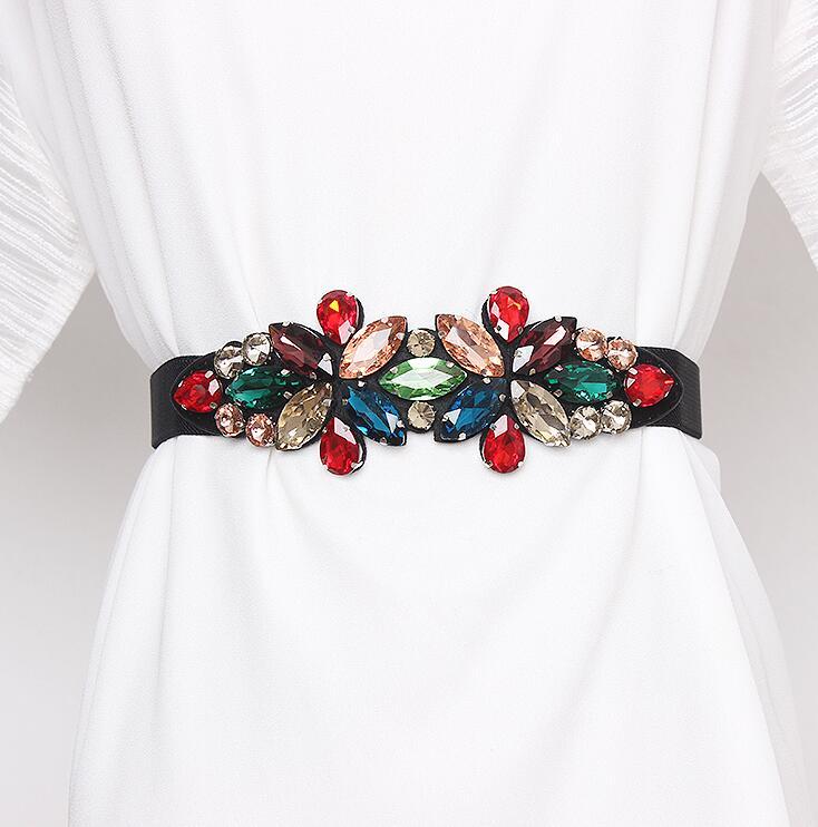 Women's Runway Fashion Rhinestone Beaded Elastic Cummerbunds Female Dress Corsets Waistband Belts Decoration Wide Belt R2859