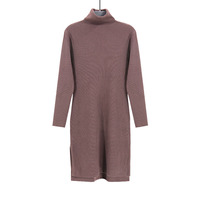 Fashion Korean Brown Long Sweater Women's Long Sleeve Warm Autumn Winter Pullovers Sweater Solid Color For Lady