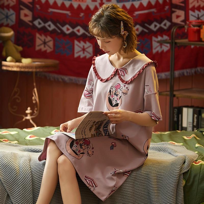 2020 New Spring Summer Nightdress Lovely Women's Sleepwear Soft Cotton Casual Home Wear Cartoon Ladies Nightwear Big Size Pijama 19