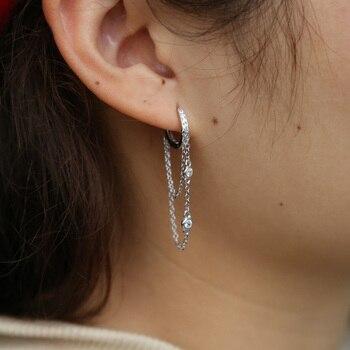 925 sterling silvler tassel chain earring elegance girlfriend gift fine silver jewelry double drop chain cz ear wire